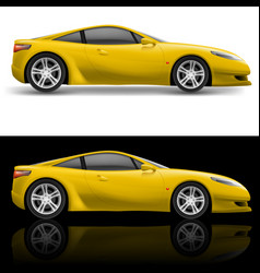 Yellow sport car icon on white and black vector