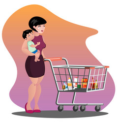 Young mother with son baby toddler in a sling vector
