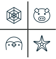 Zoo icons set collection of diver starfish vector