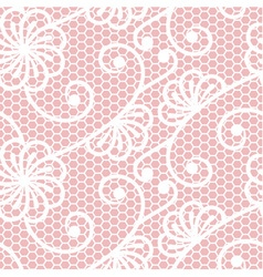 Seamless lace pattern on pink background vector