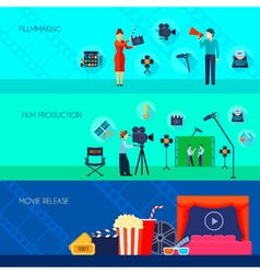 Filmmaking movie release 3 flat banners vector