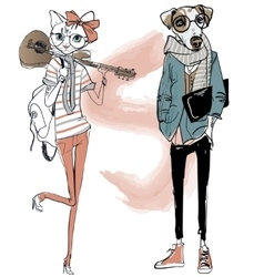 Cute fashion hipster dog and cat vector