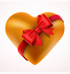 yellow valentine heart gift with bow and tape vector image