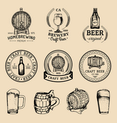 Old brewery logos set kraft beer retro images vector