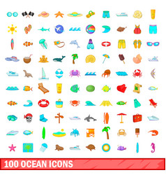 100 ocean icons set cartoon style vector