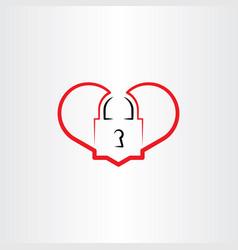Heart lock logo icon element vector