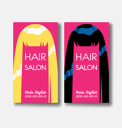 Hair salon business card templates with blonde vector
