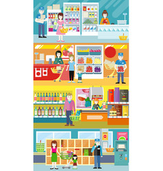 People in supermarket interior design vector