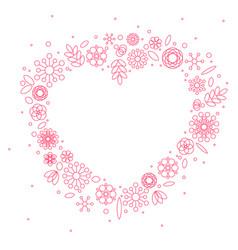 Minimalist floral background heart frame vector