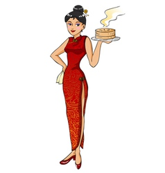 Chinese waitress vector