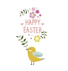 Happy easter floral design with yellow bird vector