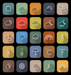 Weather line flat icons with long shadow vector