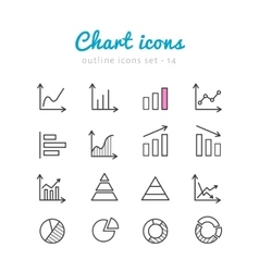 Chart icons set vector