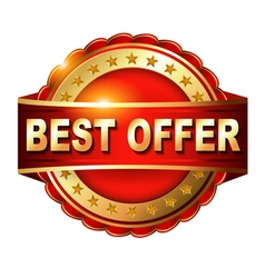 Best offer guarantee golden label with ribbon vector