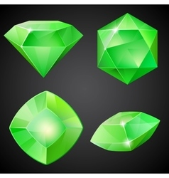 Set of green gemstones vector