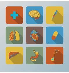 Retro health and organ flat icons set vector