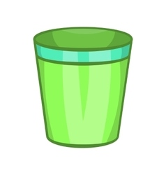 Empty trash can icon cartoon style vector