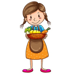 A simple drawing of a farm girl vector image vector image