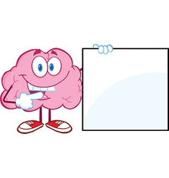 Brain Cartoon Character Showing A Blank Sign vector image vector image