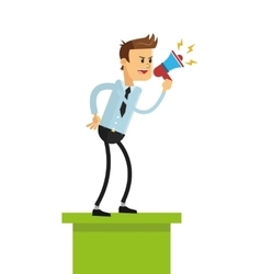 business man with megaphone icon vector image