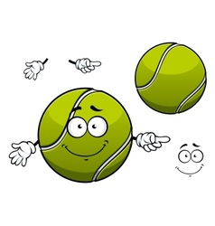 Cheerful green tennis ball cartoon character vector