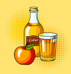 Cider alcohol drink pop art vector