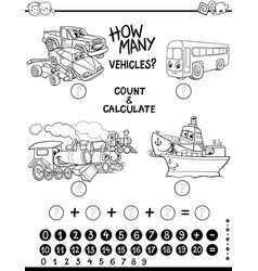 Count and calculate coloring page vector