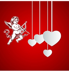 Decorative red background with Cupid vector image