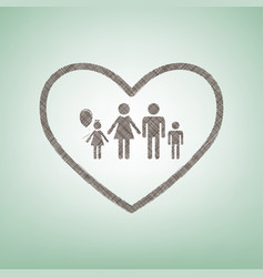 Family sign in heart shape vector