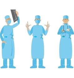 Flat cartoon surgeon vector
