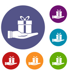gift box in hand icons set vector image