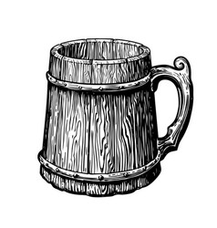 hand-drawn vintage empty wood mug sketch vector image