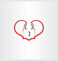 heart lock logo icon element vector image