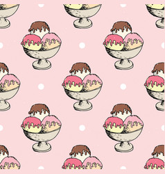 Ice cream seamless pattern hand drawn sketch vector