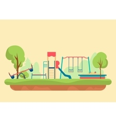 Kids playground flat style set of design elements vector