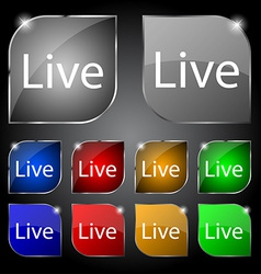 Live sign icon set of colored buttons vector