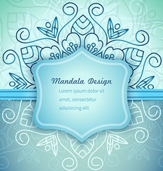 Mandala Blue invitation lace vector image