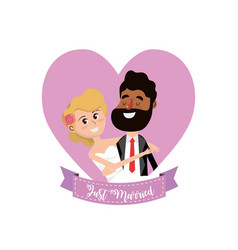 Married couple inside of heart and ribbon design vector