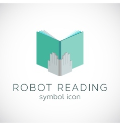 Metal Hands With Book Template Robot Reading vector image