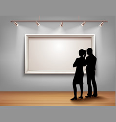 People Silhouettes In Gallery vector image vector image
