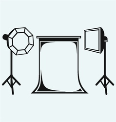 Photo studio with lighting equipment vector image