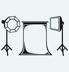 Photo studio with lighting equipment vector