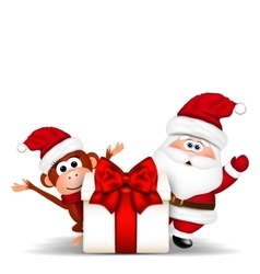 Santa clause and christmas monkey on white vector