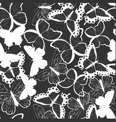 Seamless pattern with silhouette butterflies vector