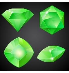Set of green gemstones vector