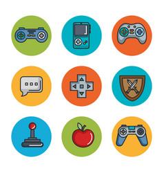 Set video game entertaining items symbols vector