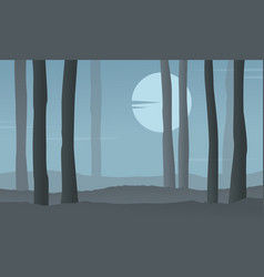 silhouette of forest at night with moon vector image vector image