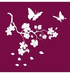 Silhouette twig cherry blossoms vector image vector image