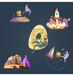 Space cartoon set vector