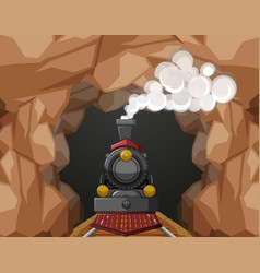 Train ride through the cave vector